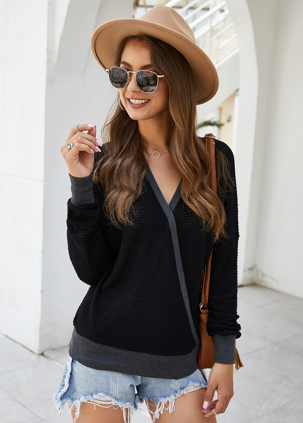 Long Sleeve Contrast Panel V Neck Sweater