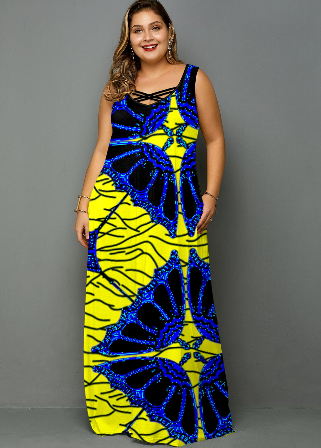 Tribal Print Wide Strap Plus Size Dress