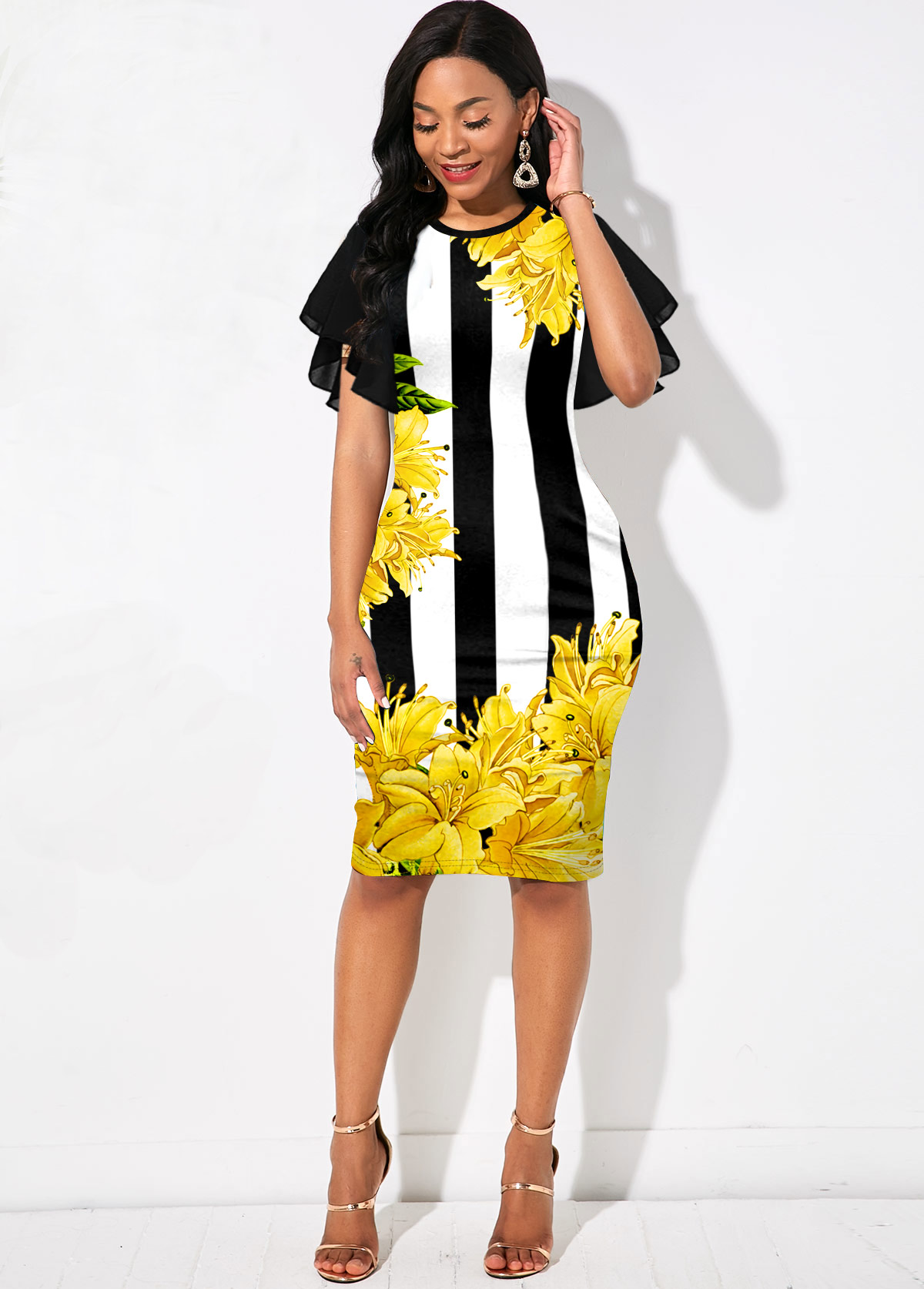 Stripe and Floral Print Round Neck Dress