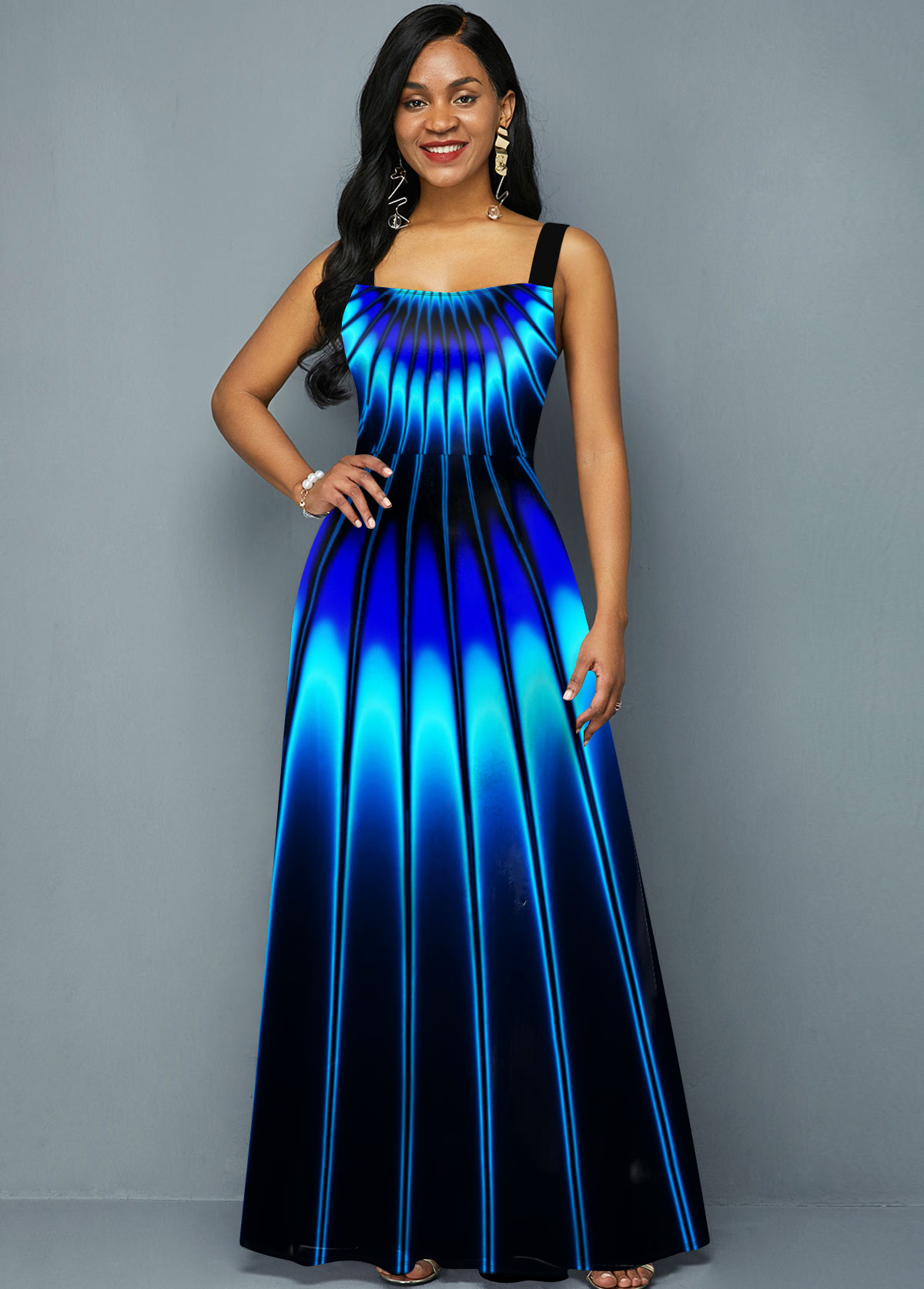 Spaghetti Strap Blue Printed Maxi Dress