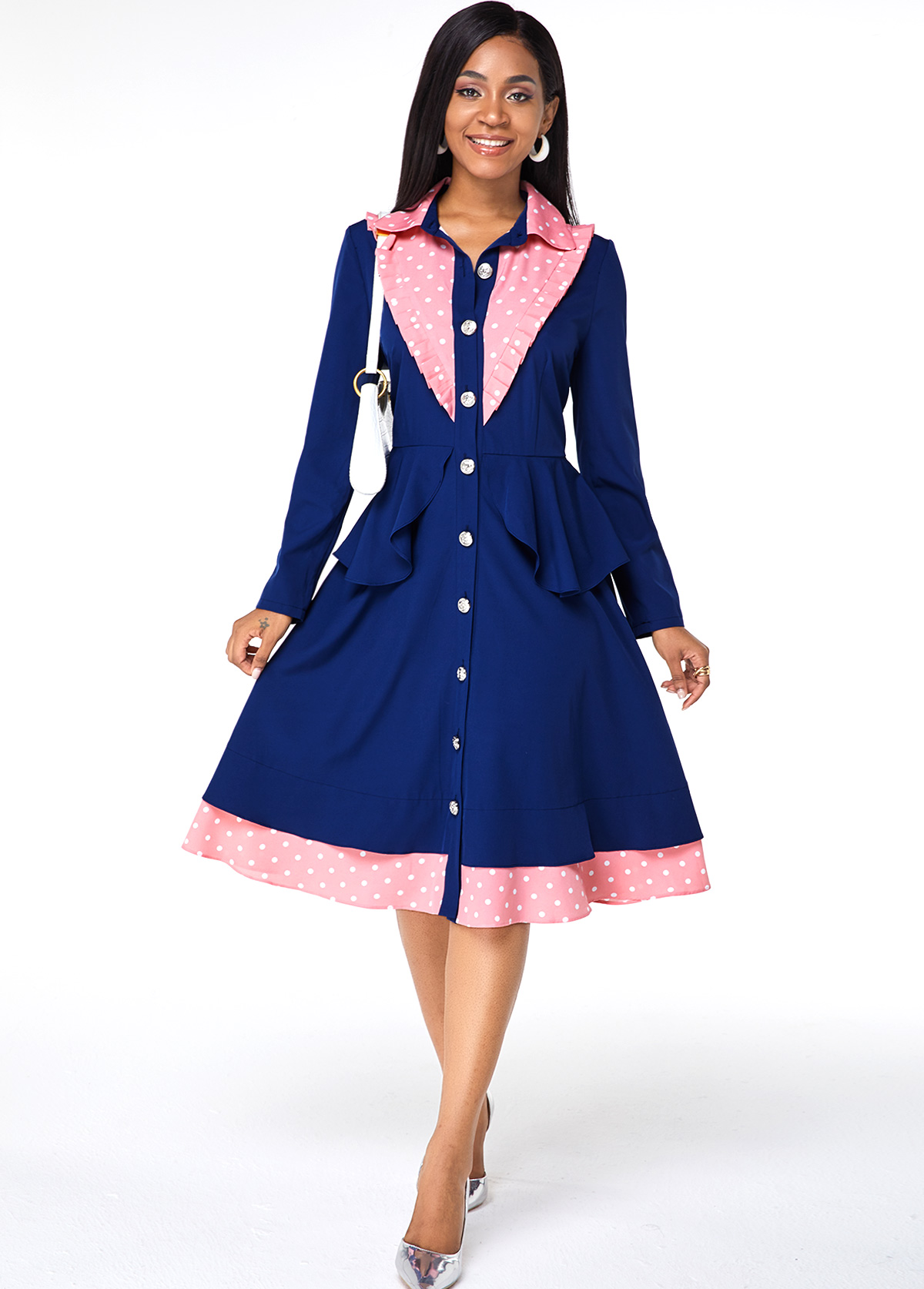 Turndown Collar Polka Dot Button Up Dress