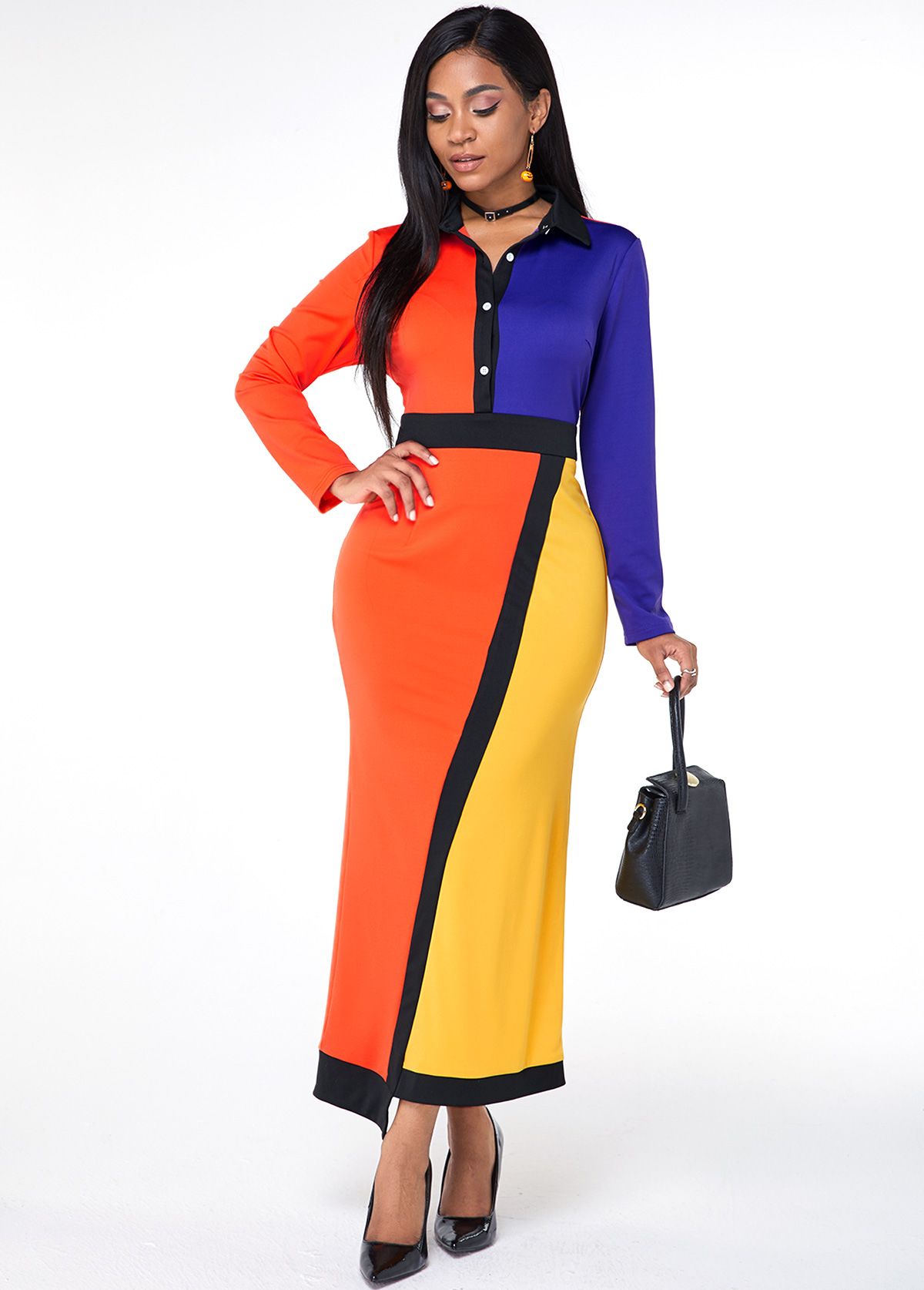 Zipper Closure Color Block Turndown Collar Maxi Dress