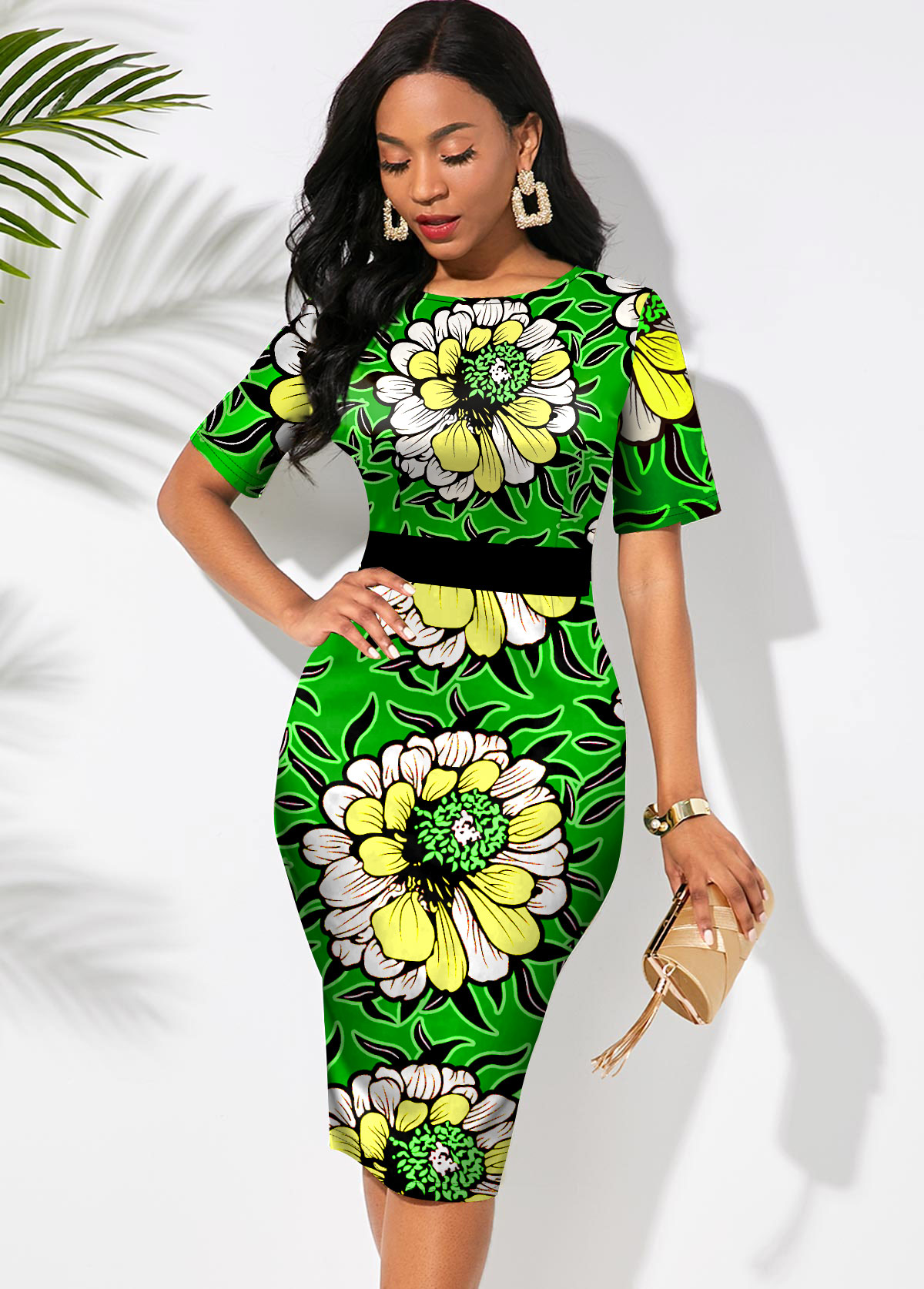 Round Neck Short Sleeve Floral Print Dress