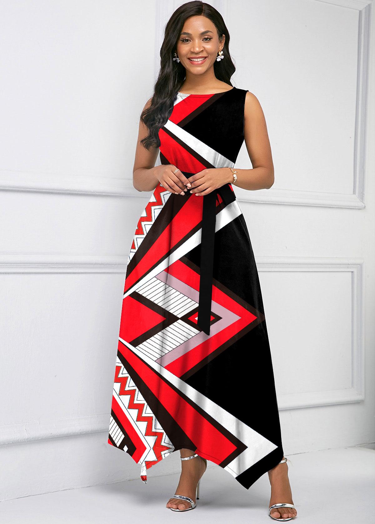 Belted Geometric Print Asymmetric Hem Maxi Dress