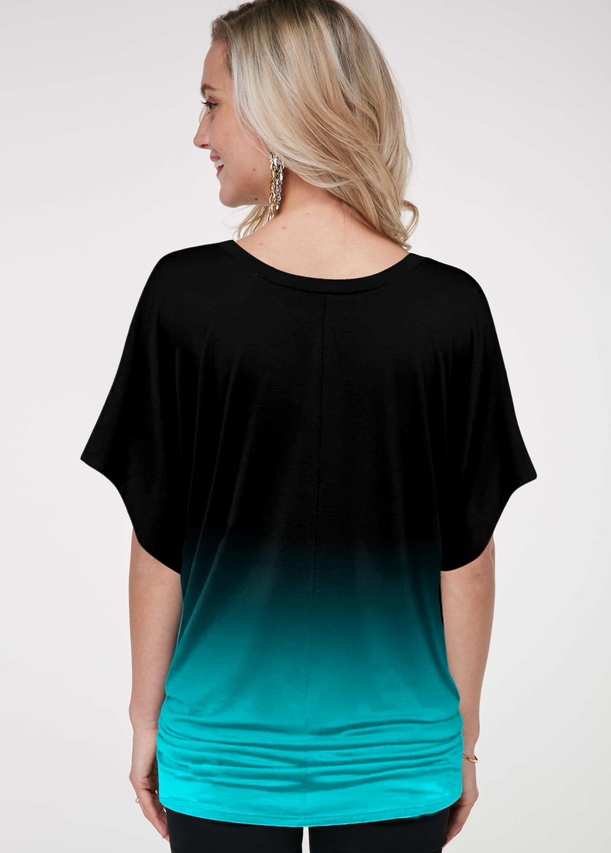 Printed Butterfly Sleeve Ombre T Shirt