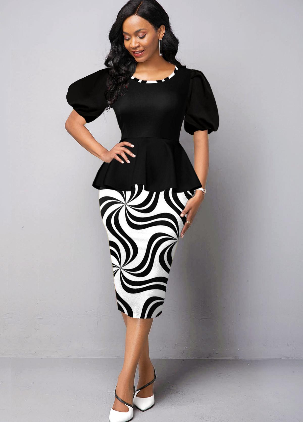 Round Neck Geometric Print Puff Sleeve Dress