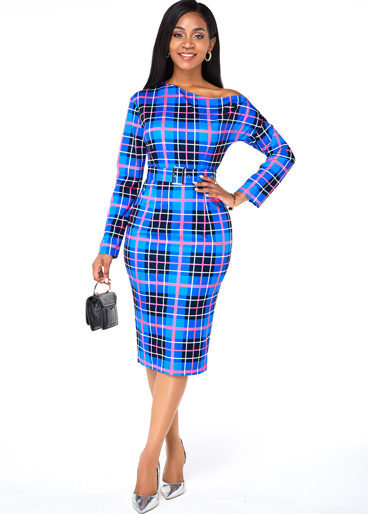 Long Sleeve Plaid Print Skew Neck Dress