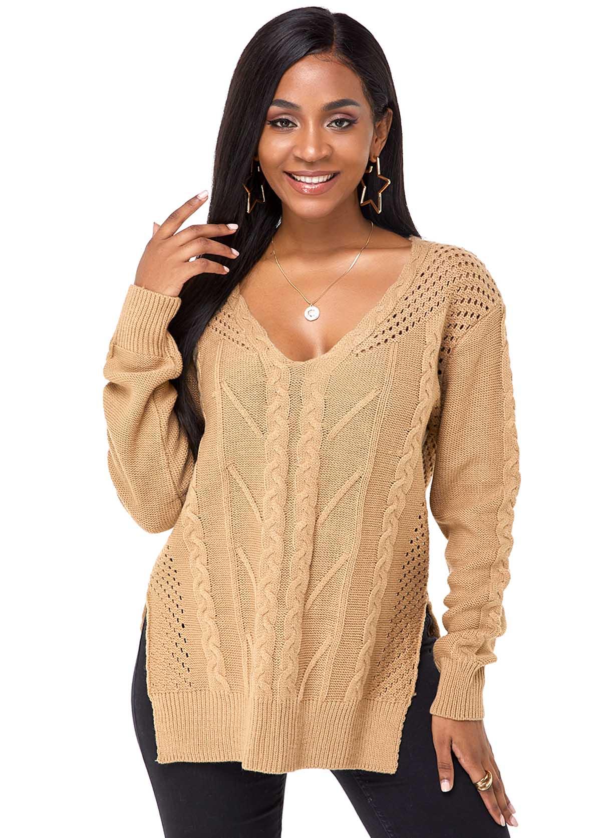 Long Sleeve V Neck Side Slit Sweater