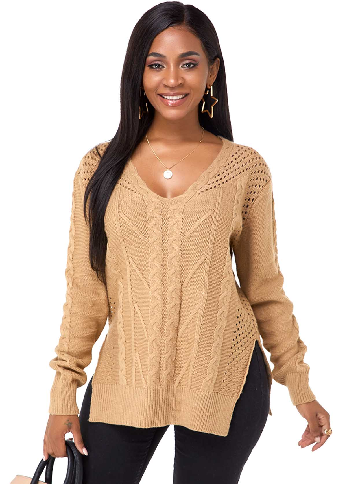 Long Sleeve V Neck Side Slit Sweater