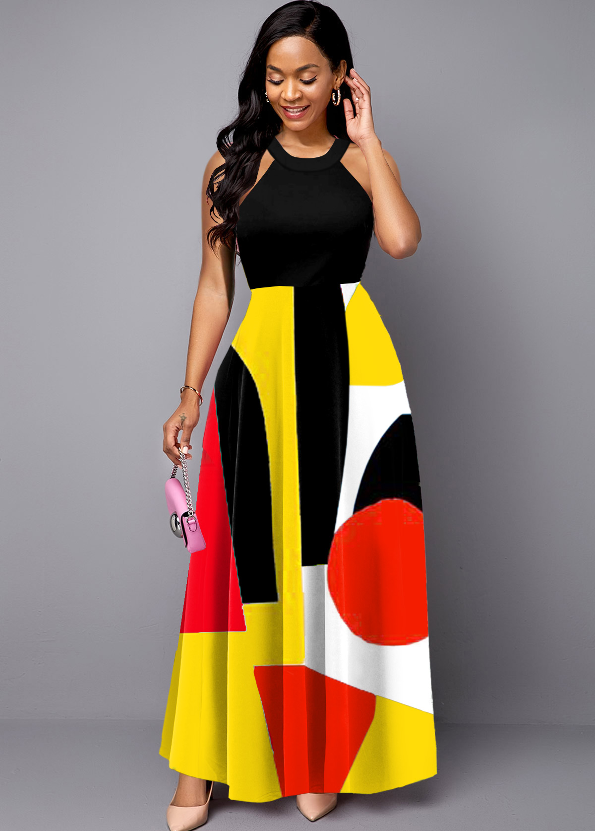 Sleeveless Geometric Print Bib Neck Maxi Dress