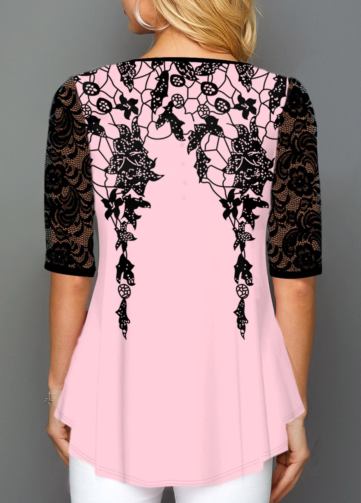 Floral Print Round Neck Lace Panel T Shirt