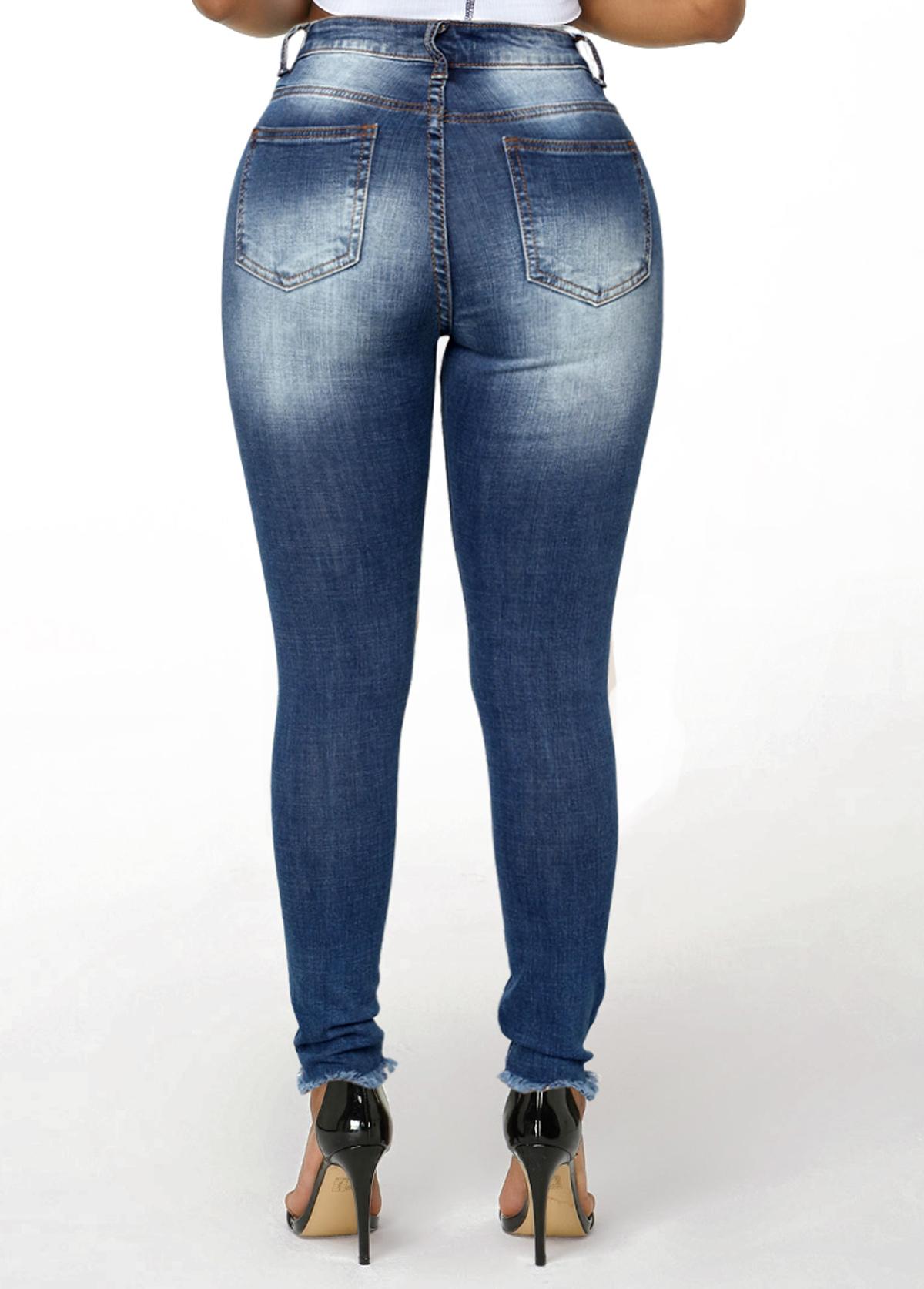 Acid Washed Frayed Hem Shredded Jeans