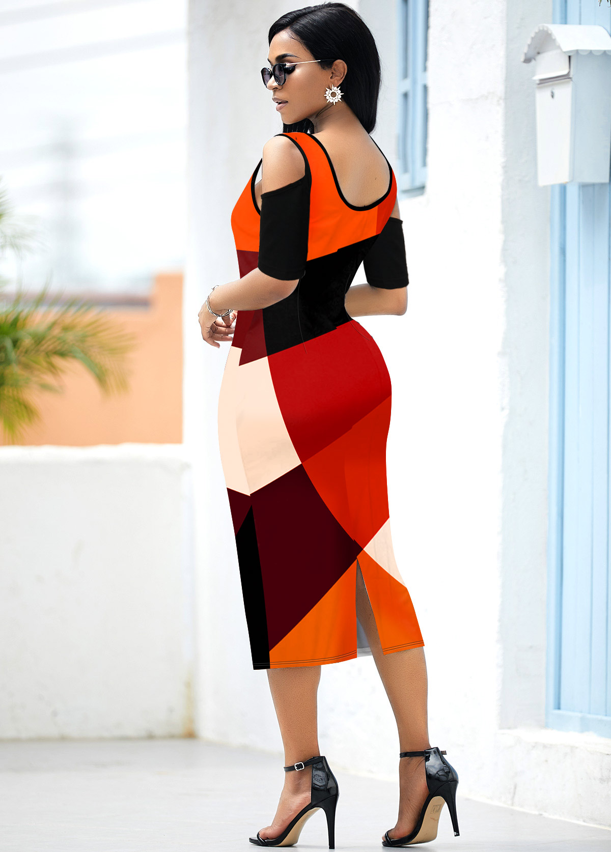 Cold Shoulder Back Slit Geometric Print Dress
