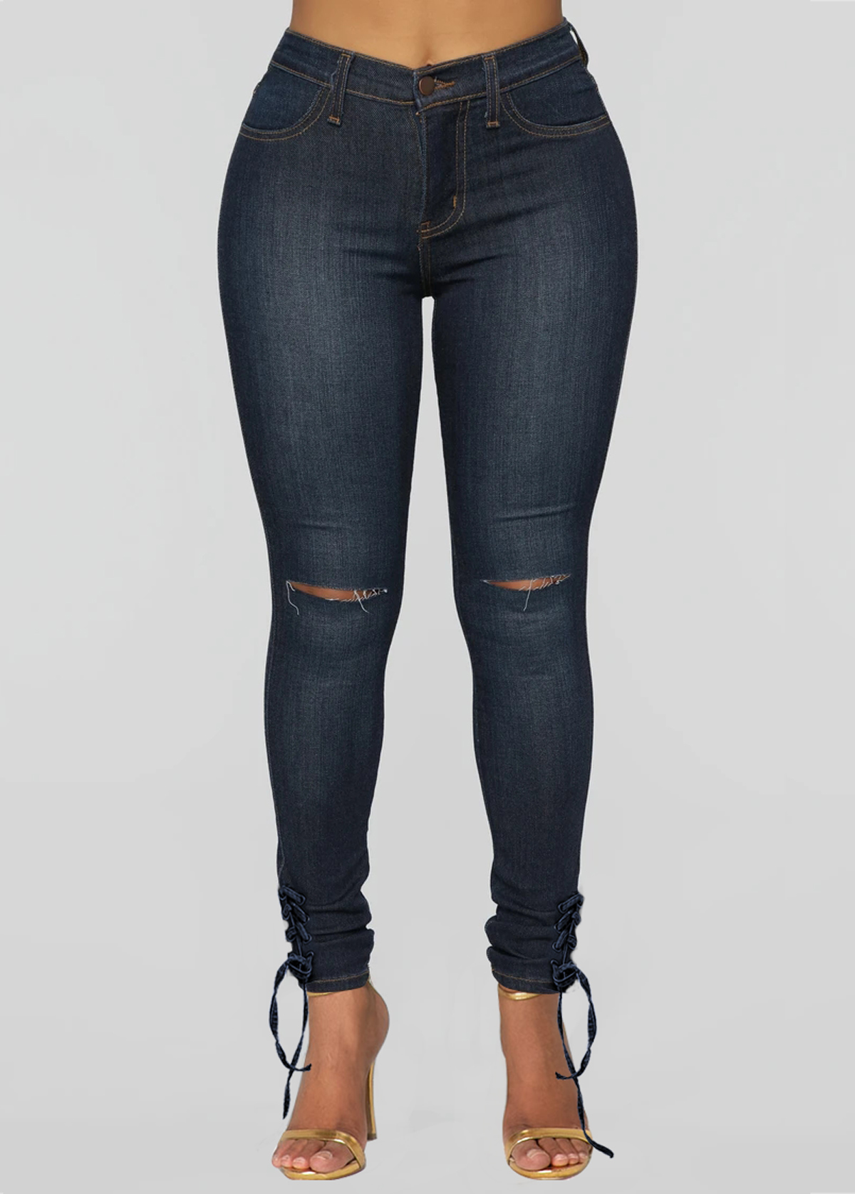 Pocket Shredded Grommet Lace Up Jeans