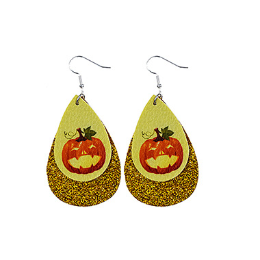 Halloween Pumpkin Water Drop Shape Earring Set