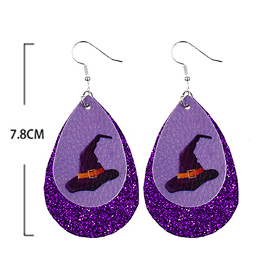 Water Drop Shape Halloween Print Purple Earring Set