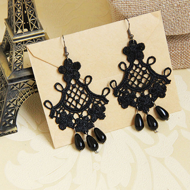 Black Lace Halloween Tassel Earring Set