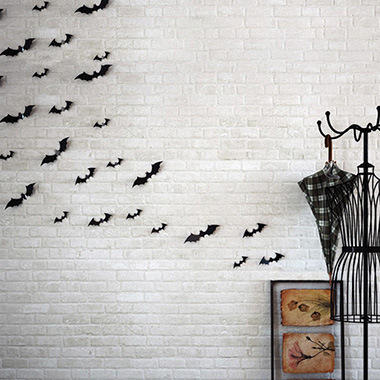 12pcs Halloween Bat Black Stickers