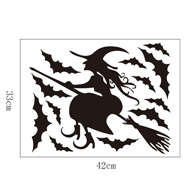 Halloween 1pc 33 X 42cm Witch Pattern Black Wall Sticker
