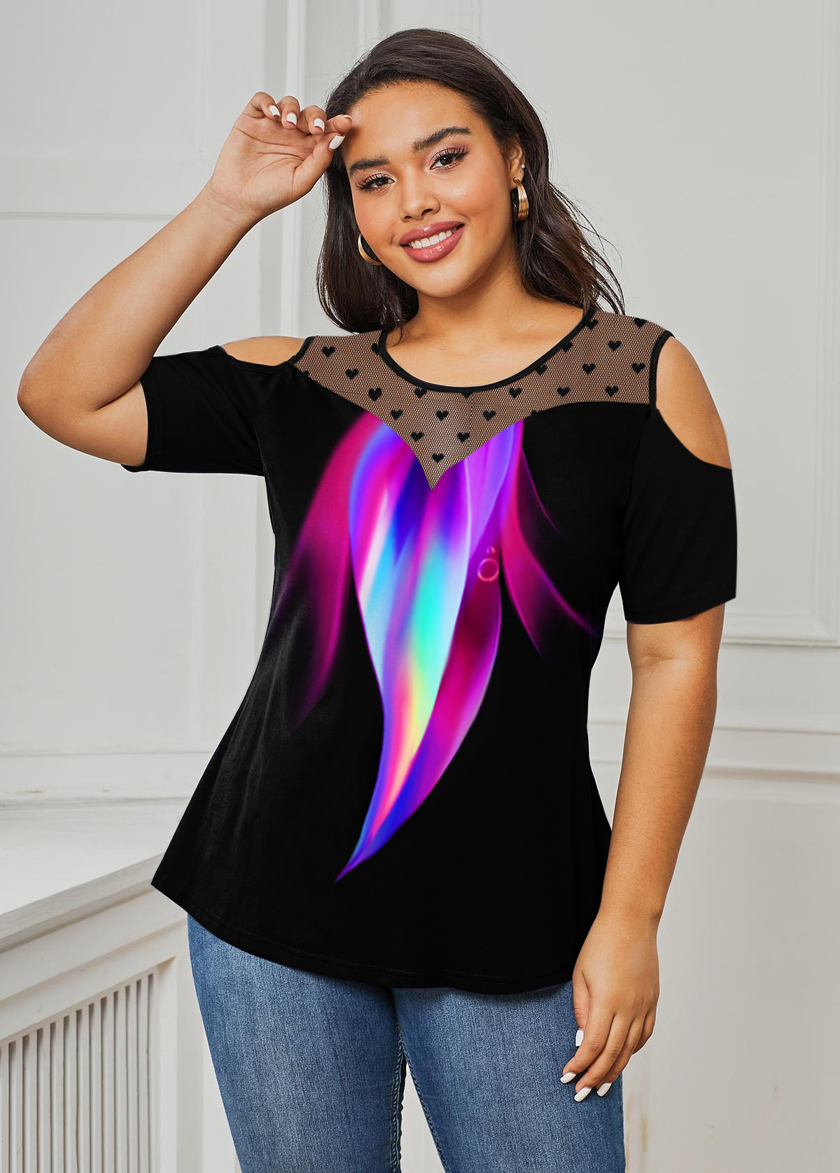 Mesh Panel Cold Shoulder Rainbow Print Plus Size T Shirt