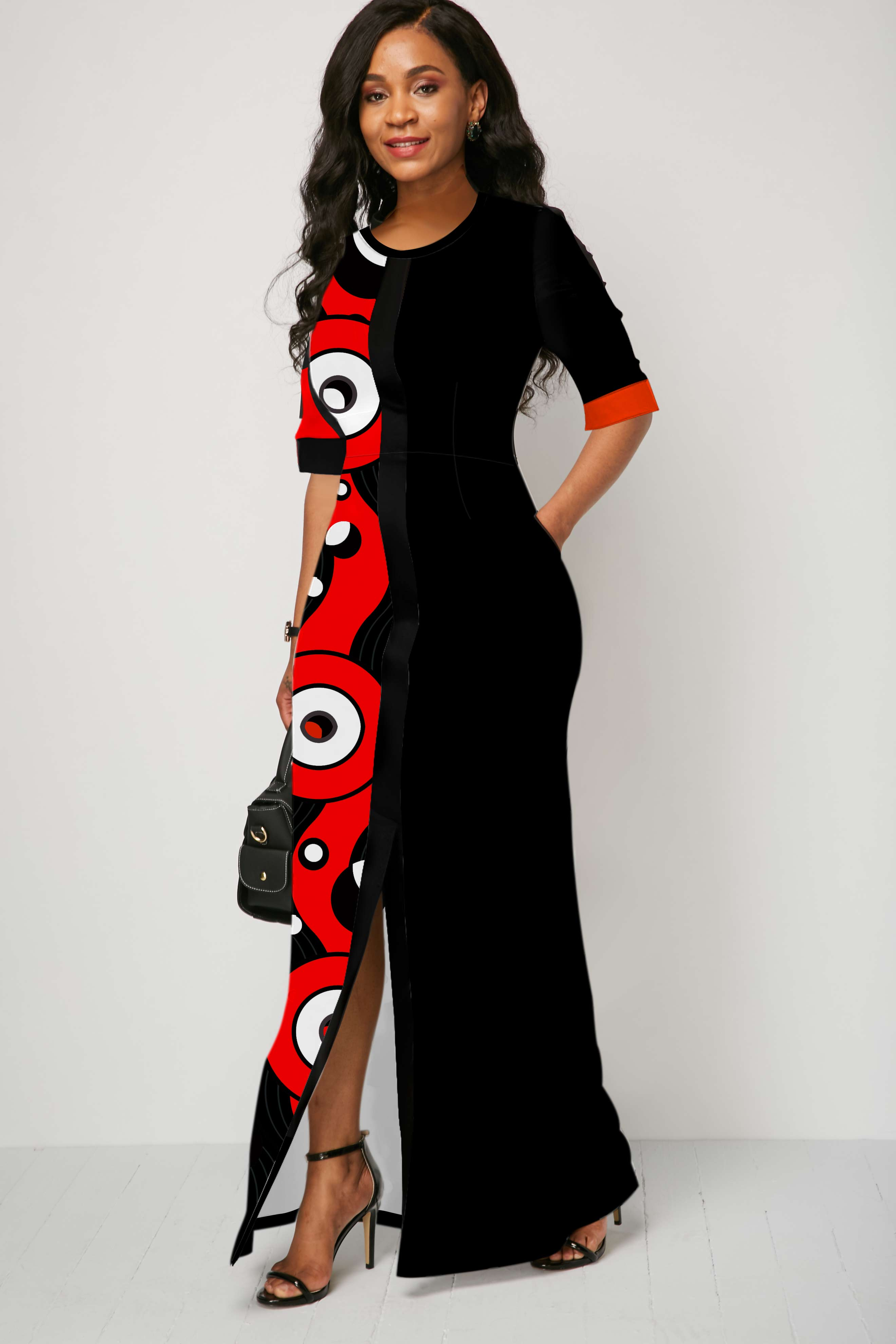 Side Pocket Geometric Print Slit Hem Maxi Dress