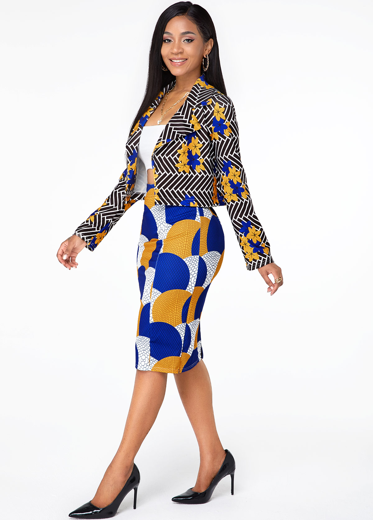Printed Open Front Long Sleeve Top and Skirt