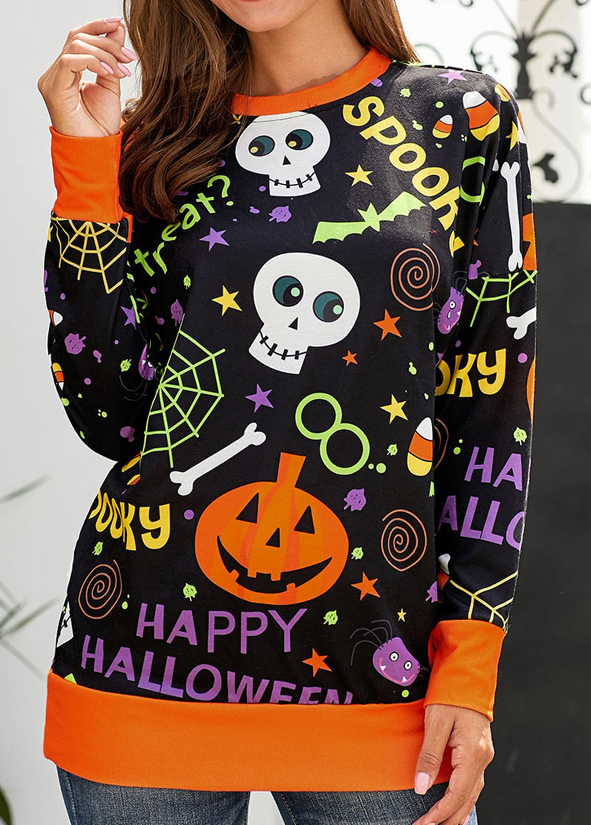 Round Neck Long Sleeve Halloween Print Sweatshirt