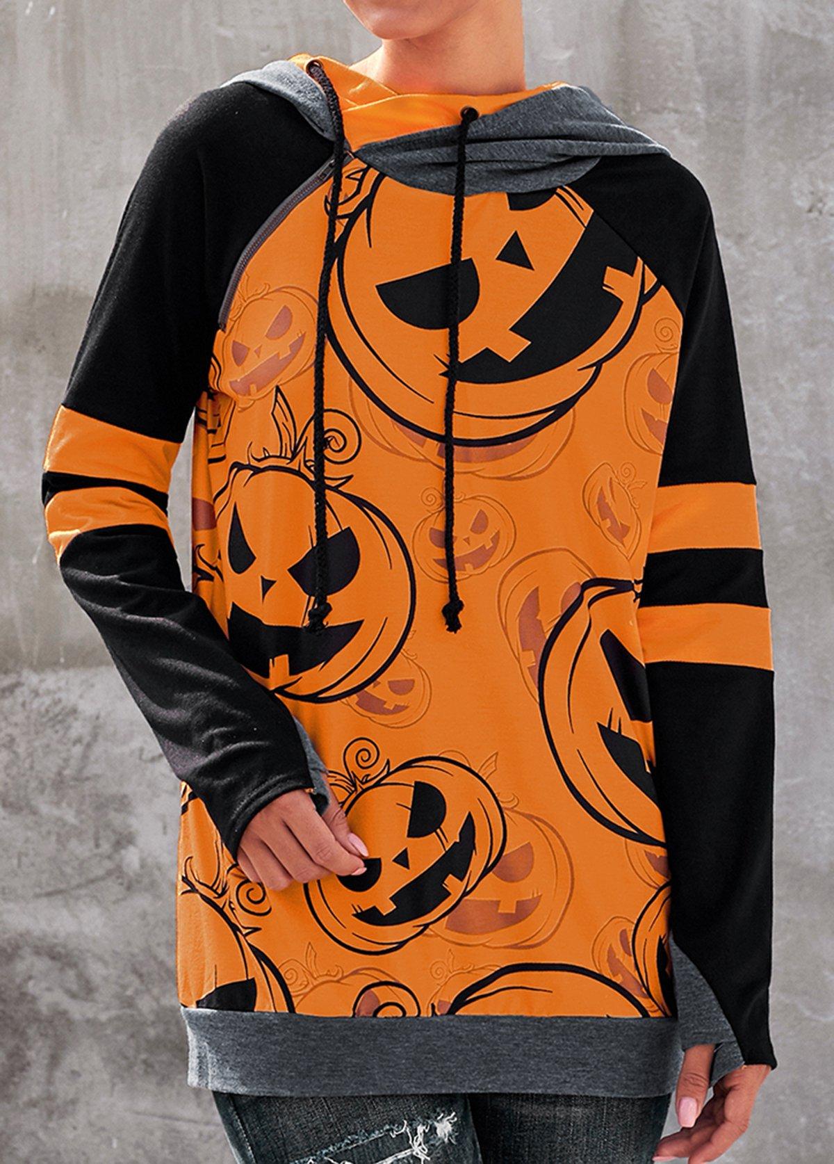 Halloween Pumpkin Print Drawstring Neck Orange Hoodie