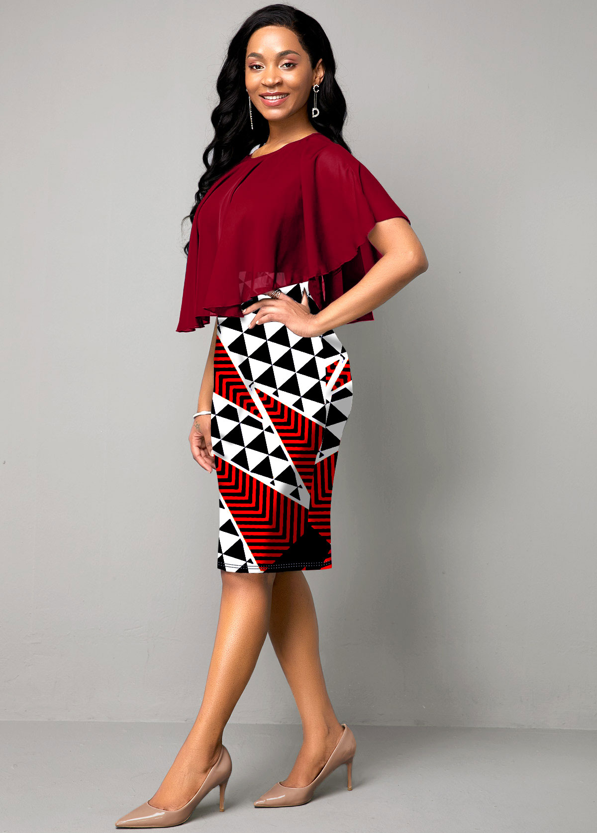Geometric Print Round Neck Chiffon Overlay Dress