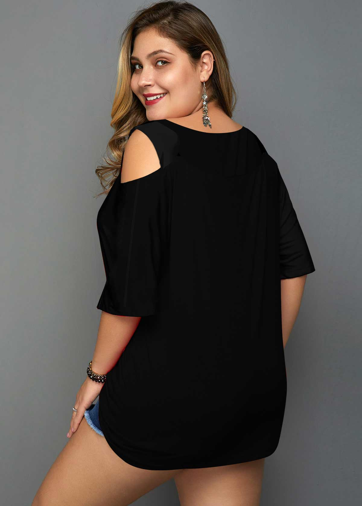 Sequin Detail Cold Shoulder Plus Size T Shirt
