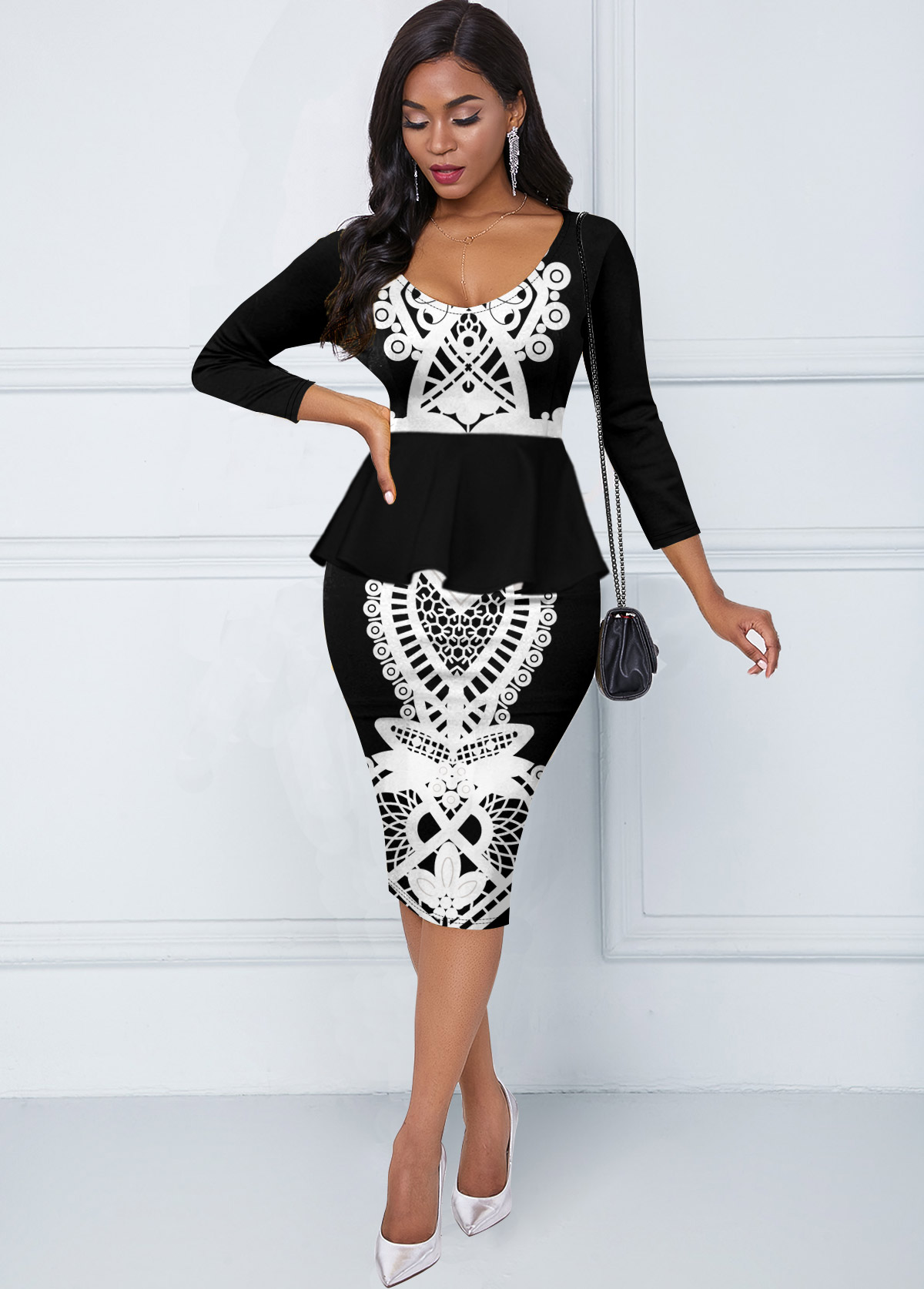 Three Quarter Sleeve Tribal Print Round Neck Dress