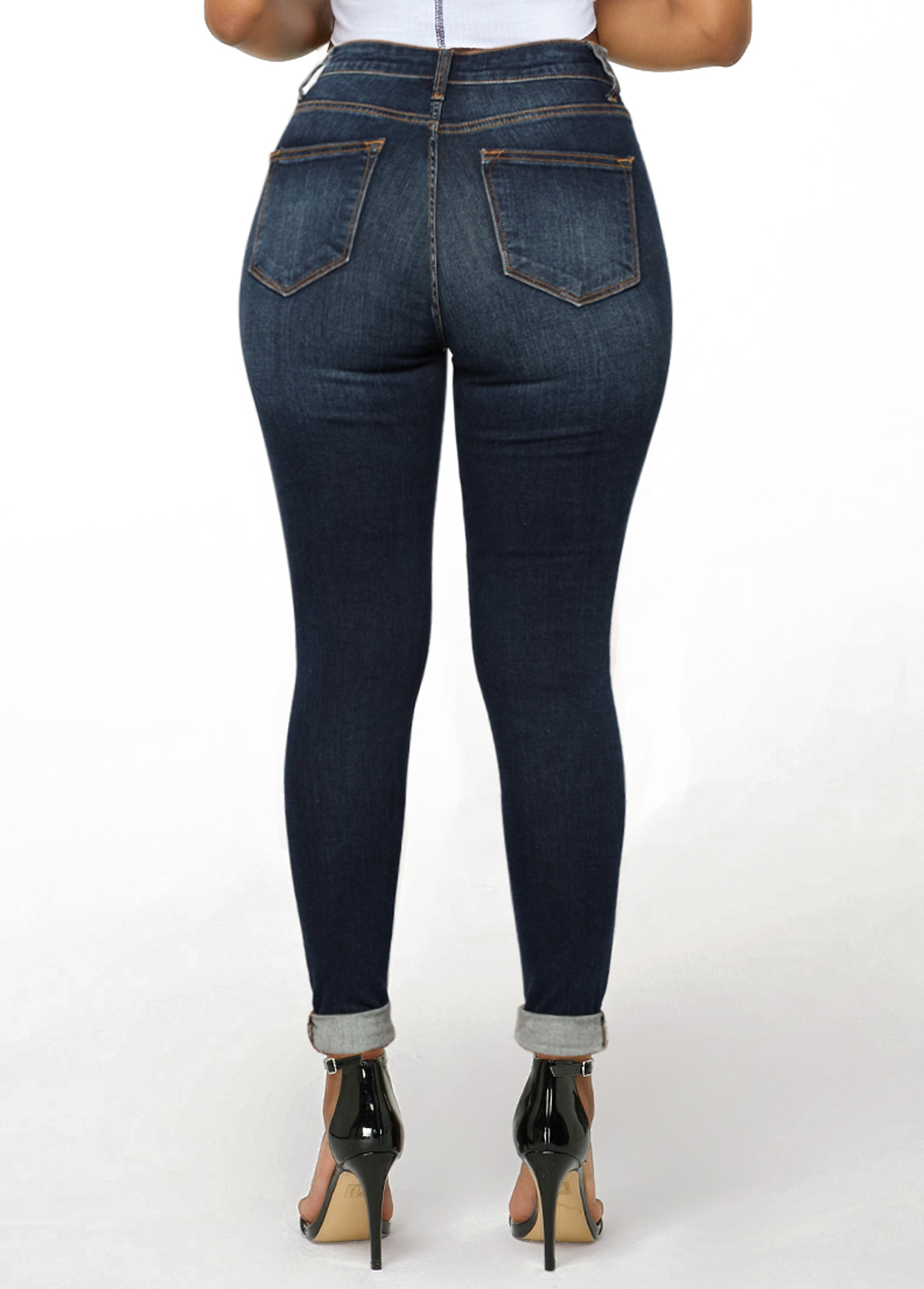 Mid Waist Shredded Roll Hem Pocket Jeans