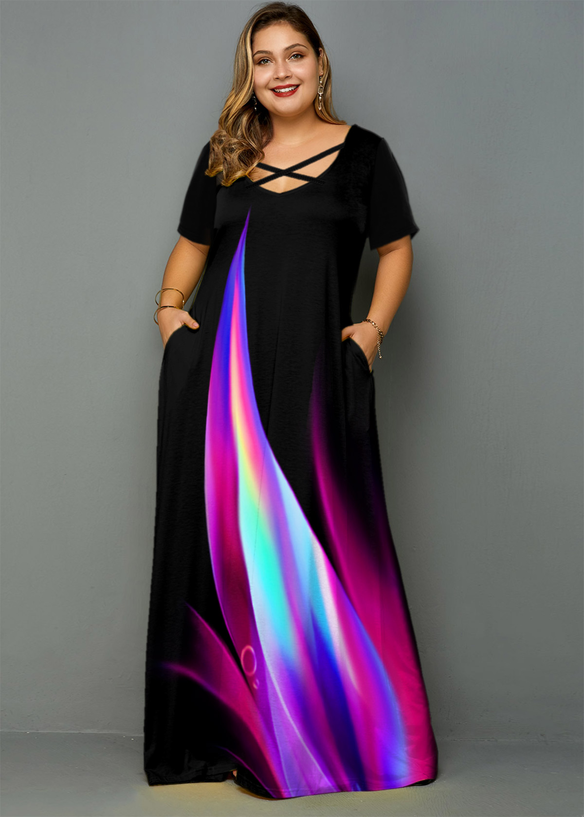 Rainbow Print Side Pocket Plus Size Maxi Dress