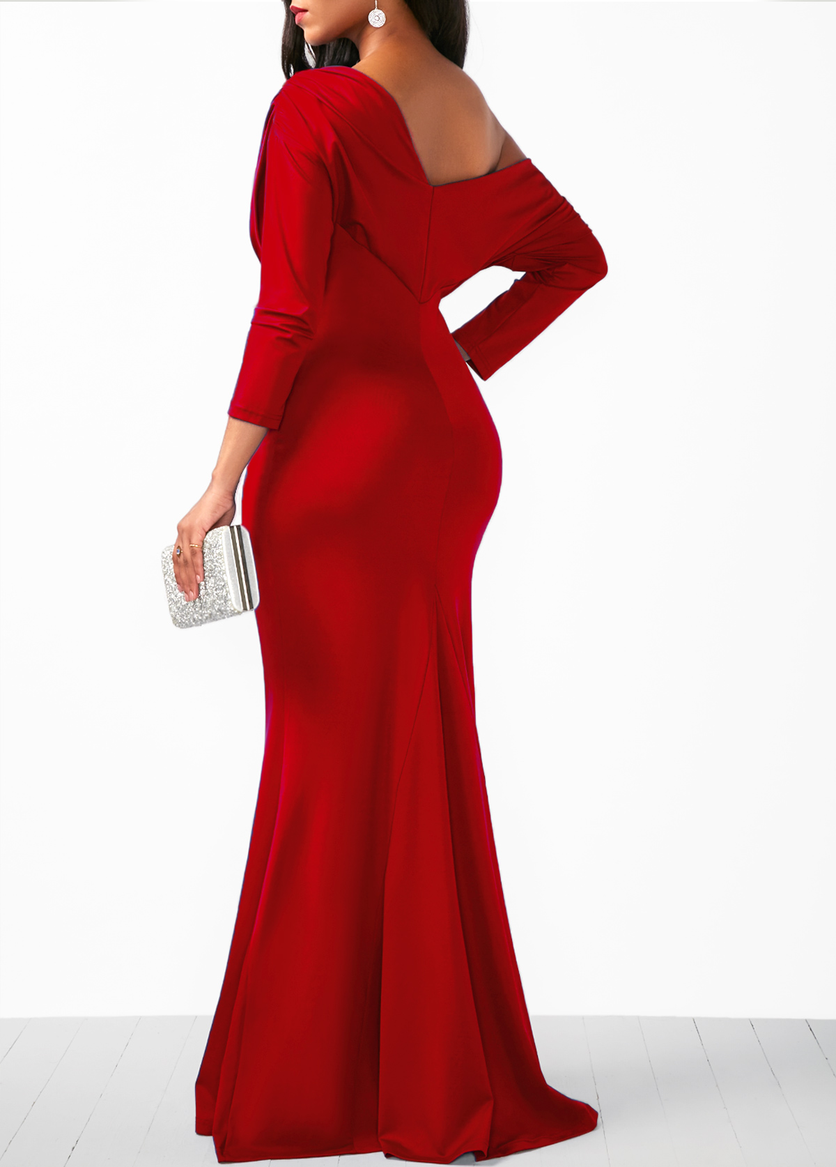 Three Quarter Sleeve Skew Neck Maxi Dress