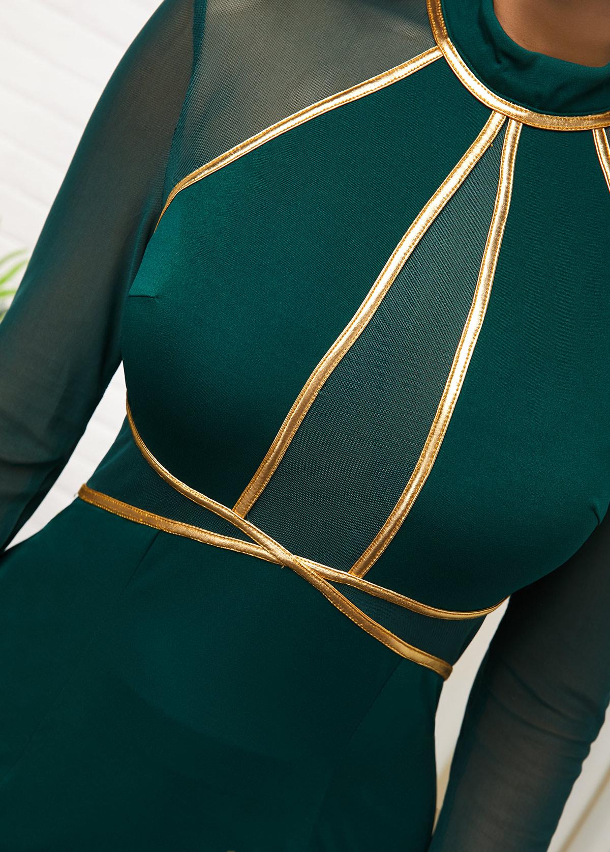 Contrast Mesh Panel Long Sleeve Dress