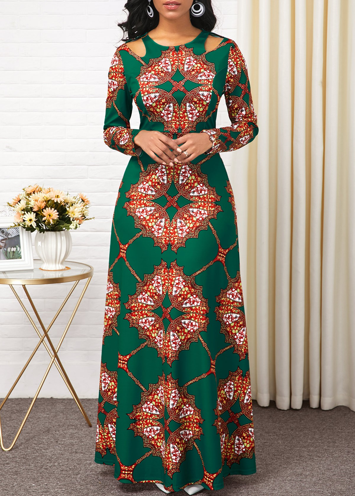 Long Sleeve Tribal Print Cold Shoulder Maxi Dress