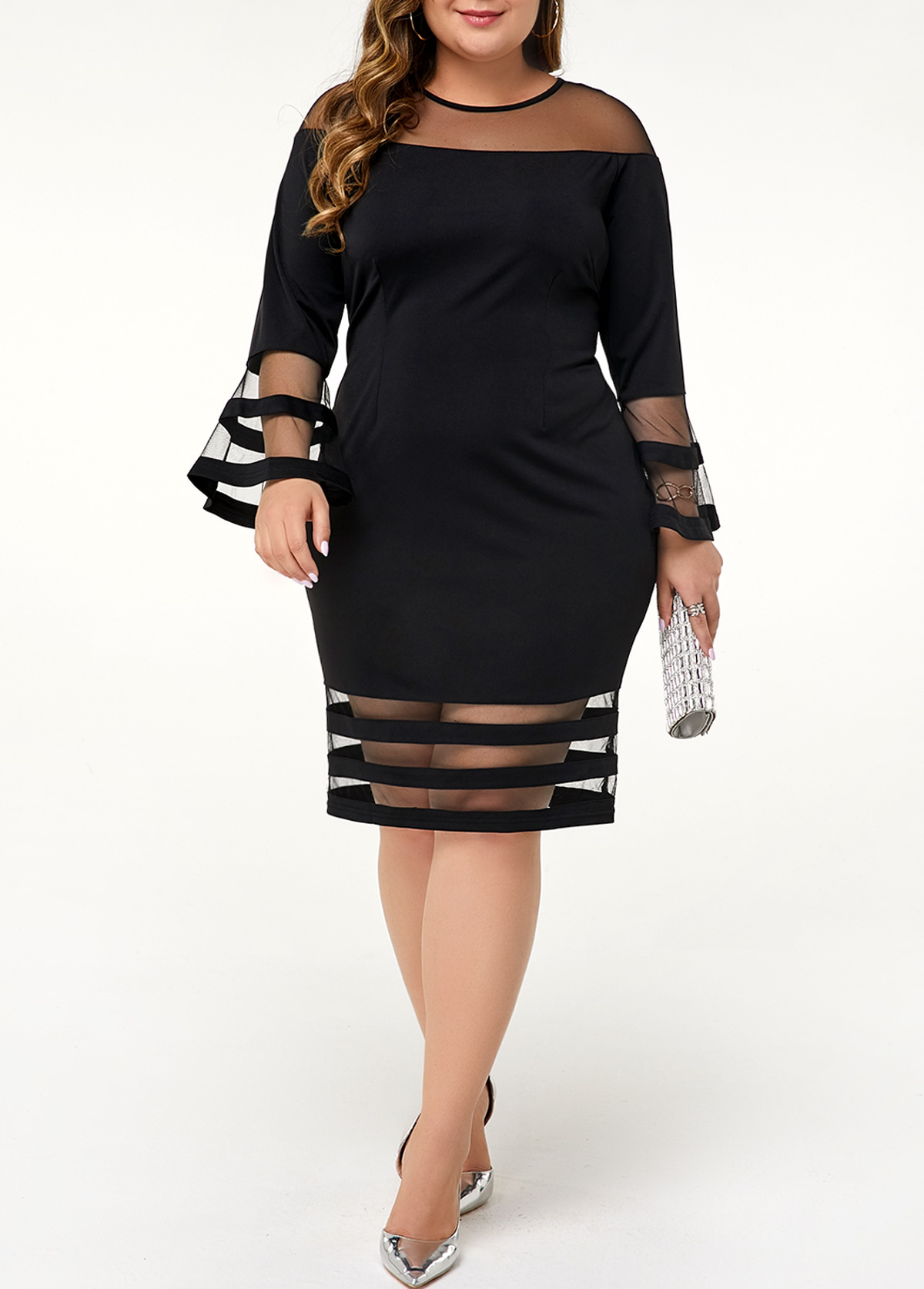 Mesh Panel Flare Sleeve Plus Size Dress