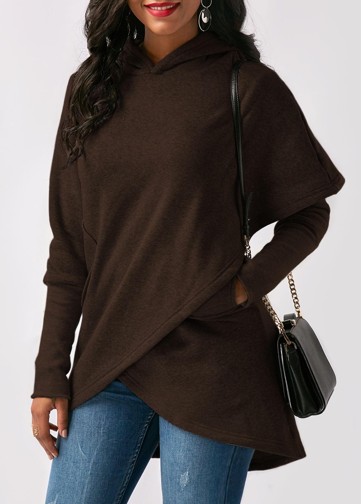 Pocket Long Sleeve Asymmetric Hem Hoodie