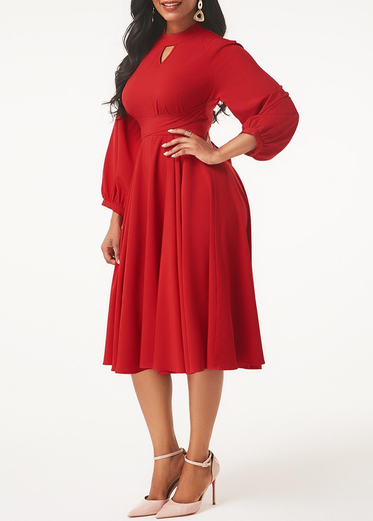Red Lantern Sleeve Keyhole Neckline Dress