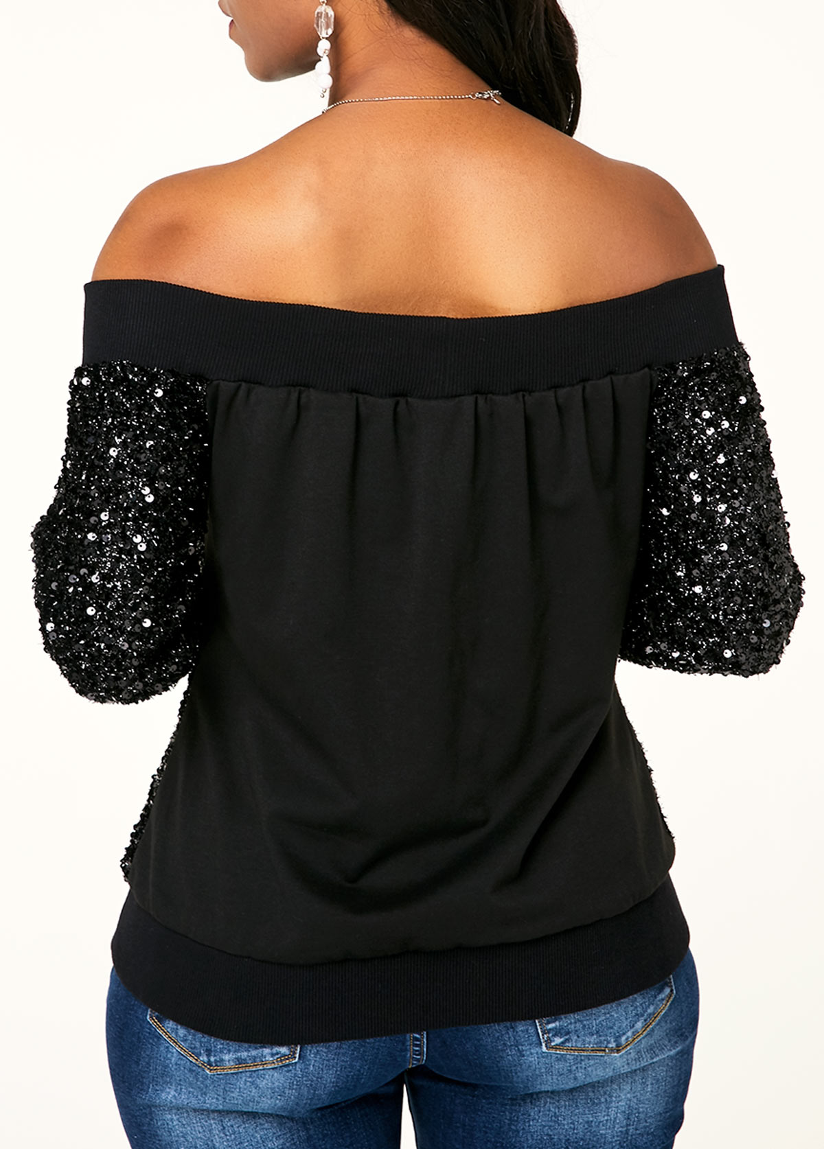 Sequin Zipper Closure Off Shoulder Jacket