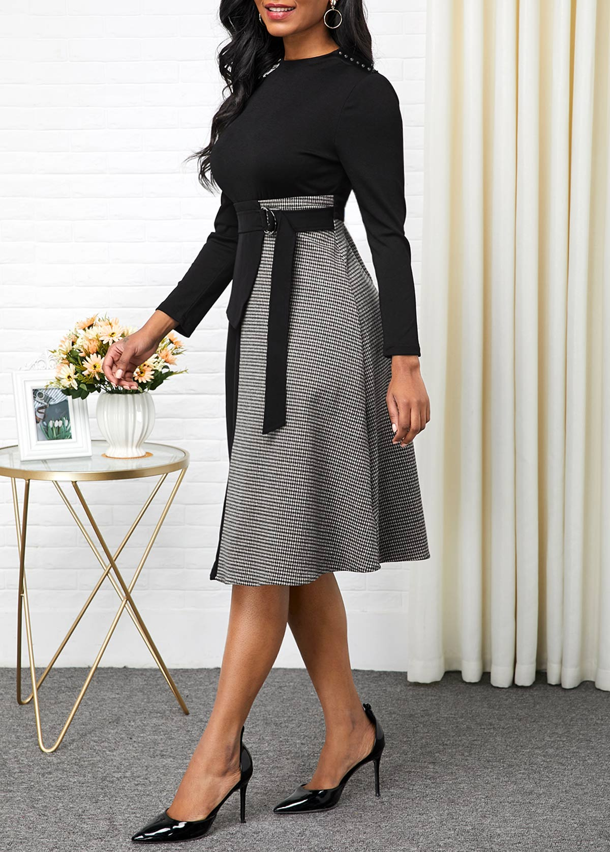 Buckle Detail Long Sleeve Contrast Dress