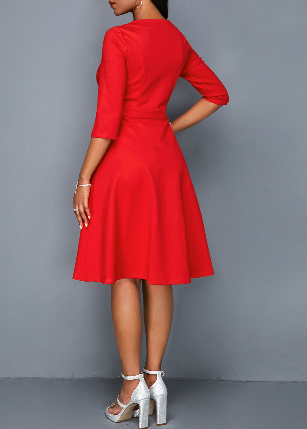 Round Neck Button Detail Side Pocket Dress