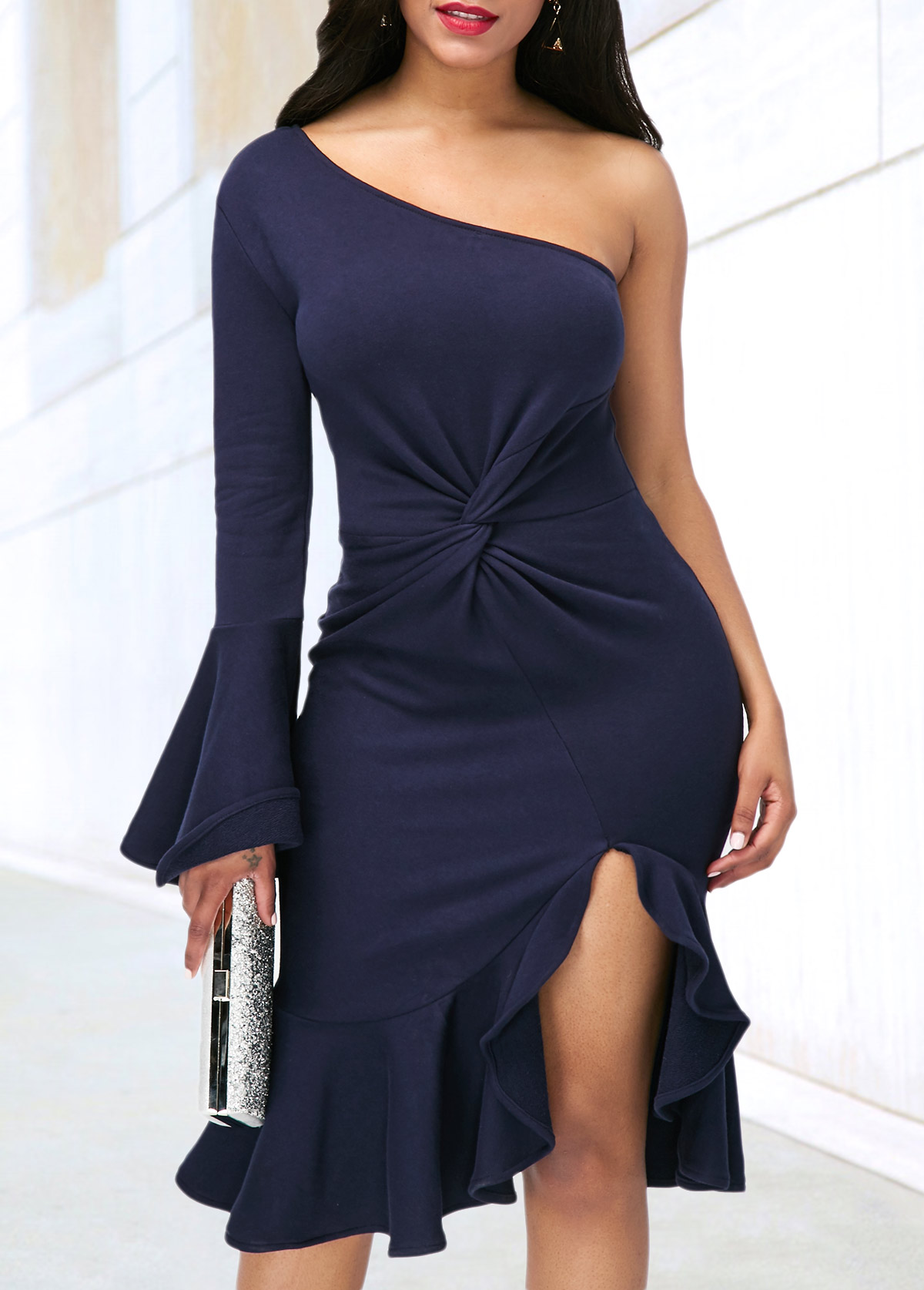 One Sleeve Skew Neck Side Slit Dress