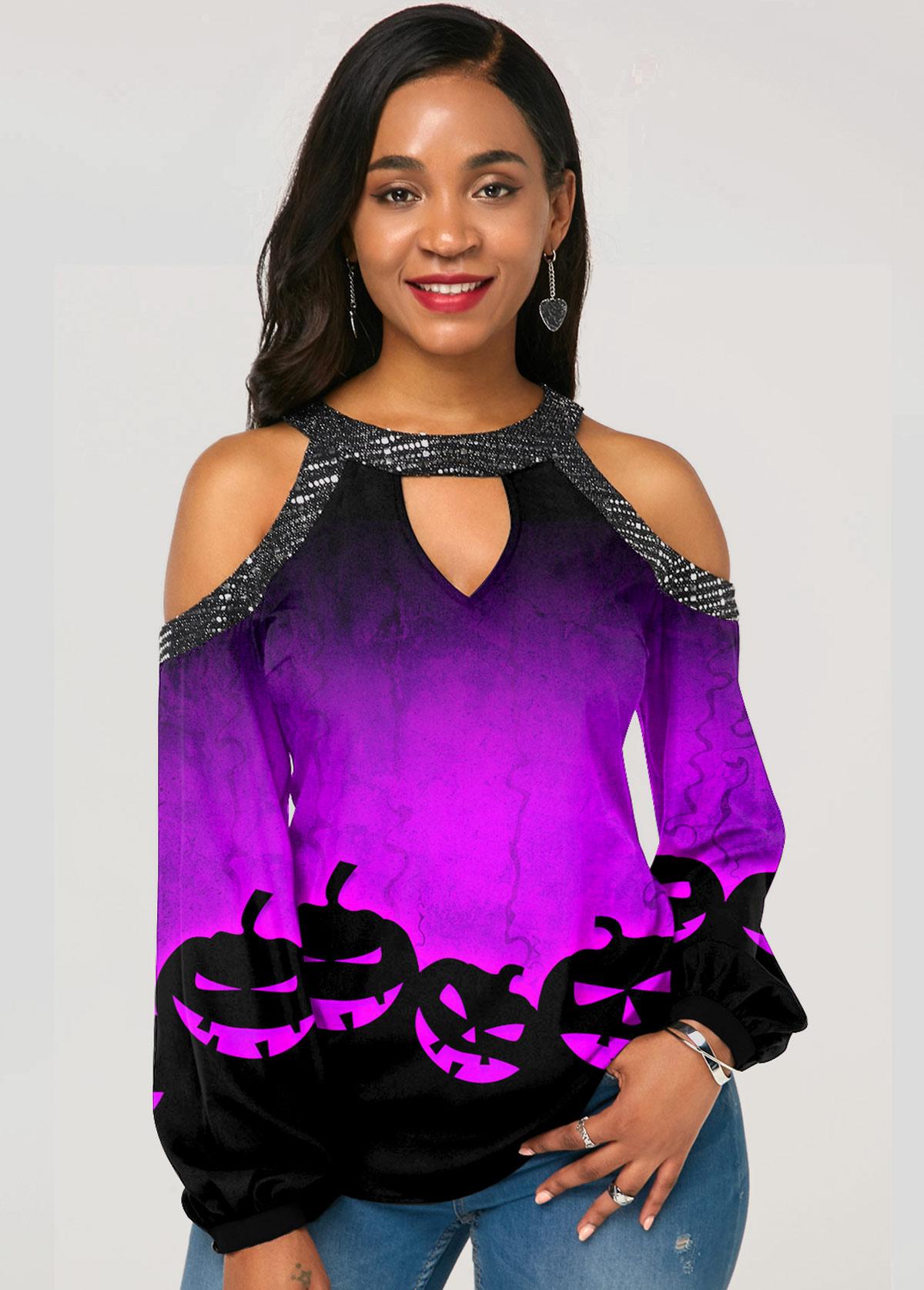 Cold Shoulder Keyhole Neckline Halloween Print T Shirt