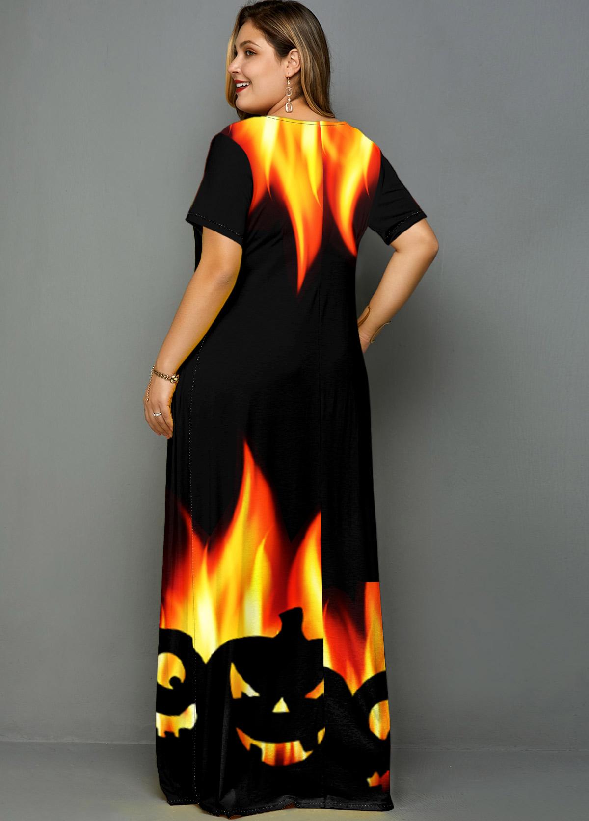 Halloween Print Side Pocket Plus Size Dress