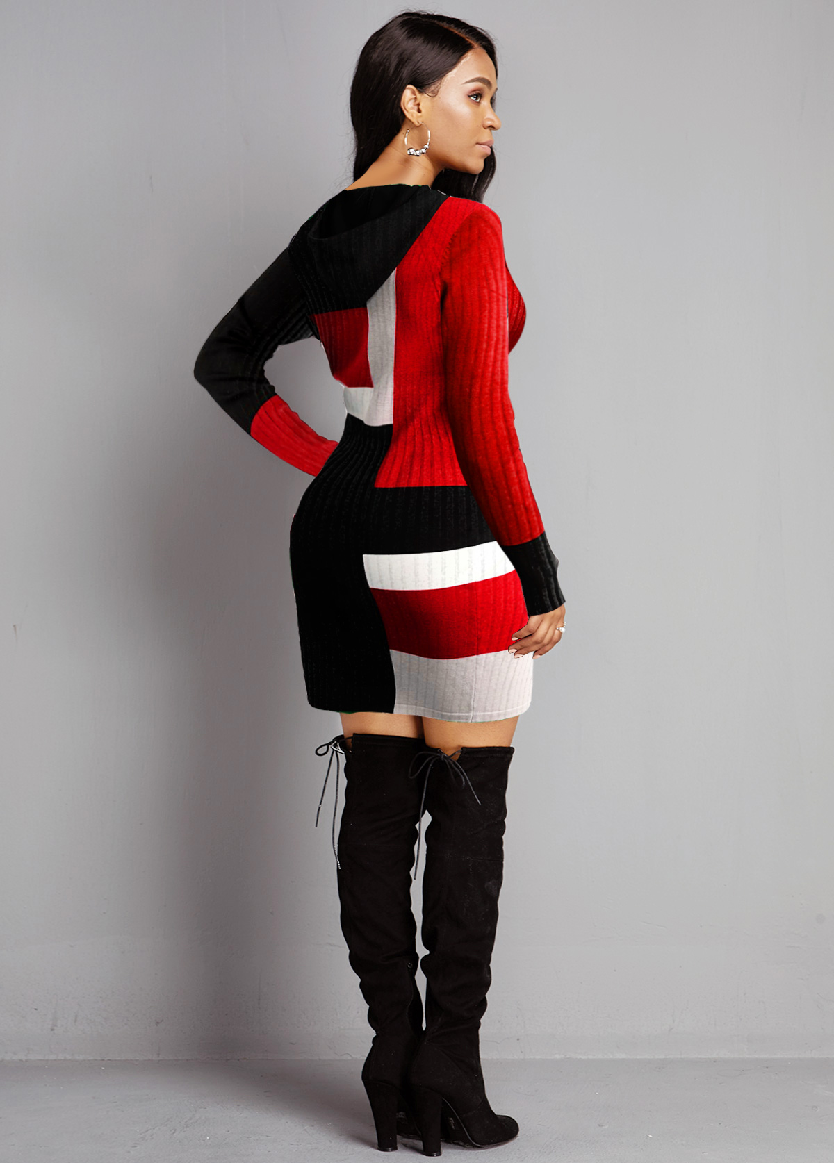 Hooded Collar Contrast Long Sleeve Sweater Dress