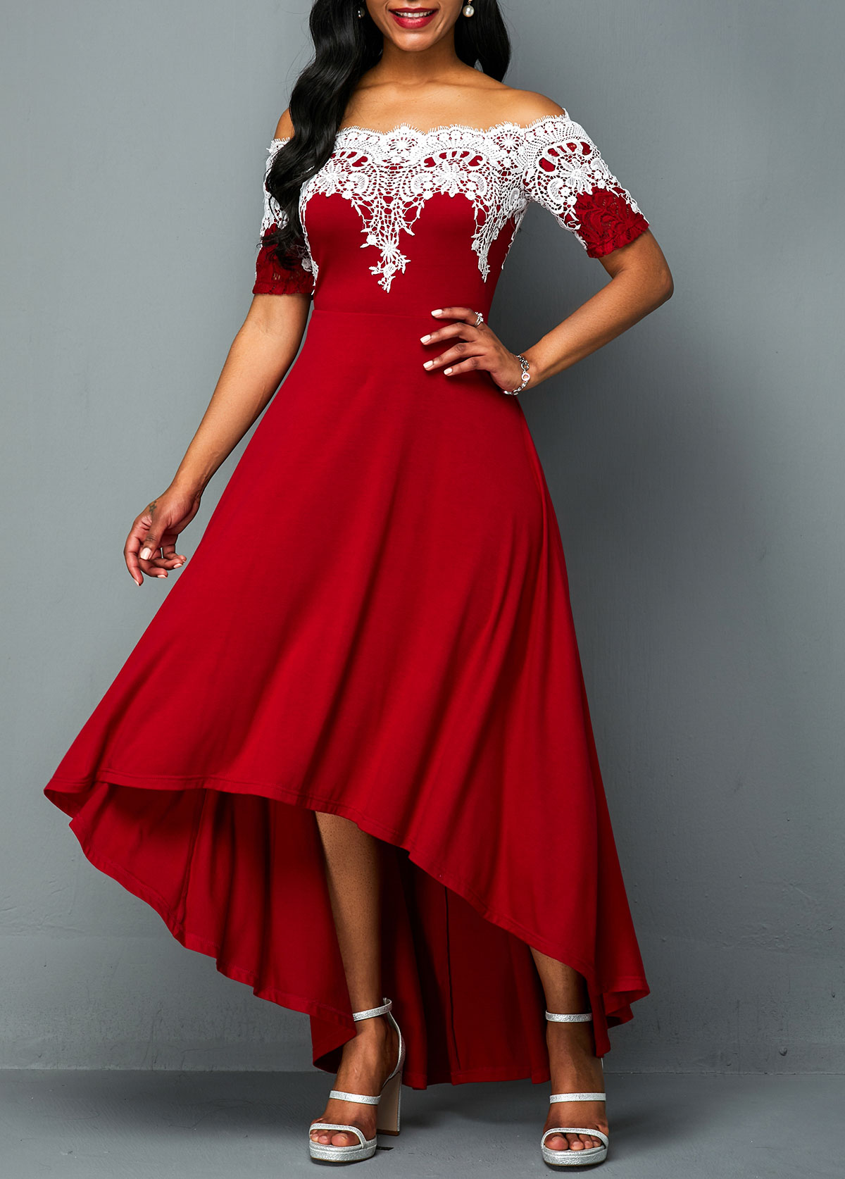 Off Shoulder Lace Panel High Low Dress