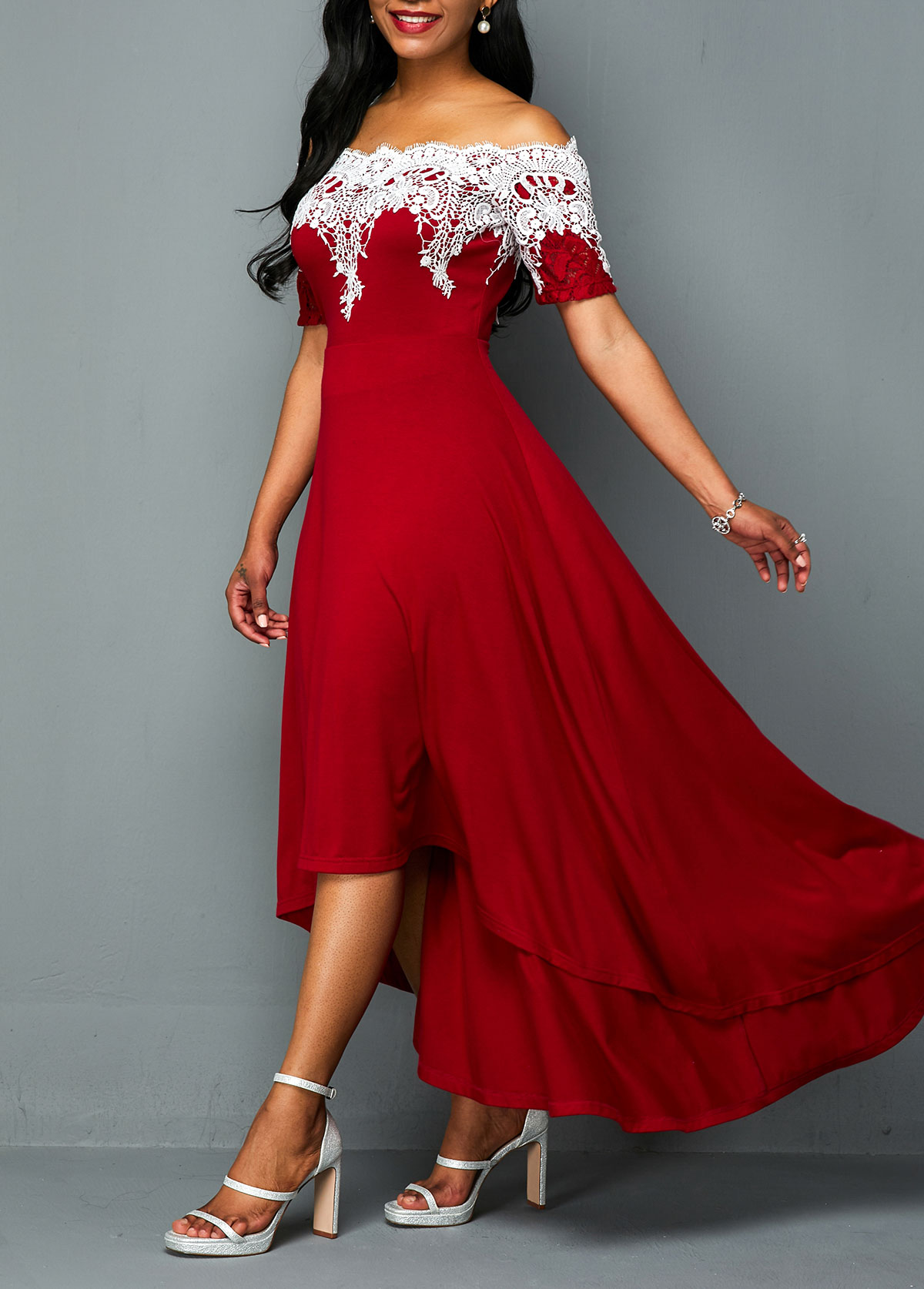 Off the Shoulder Lace Panel High Low Dress