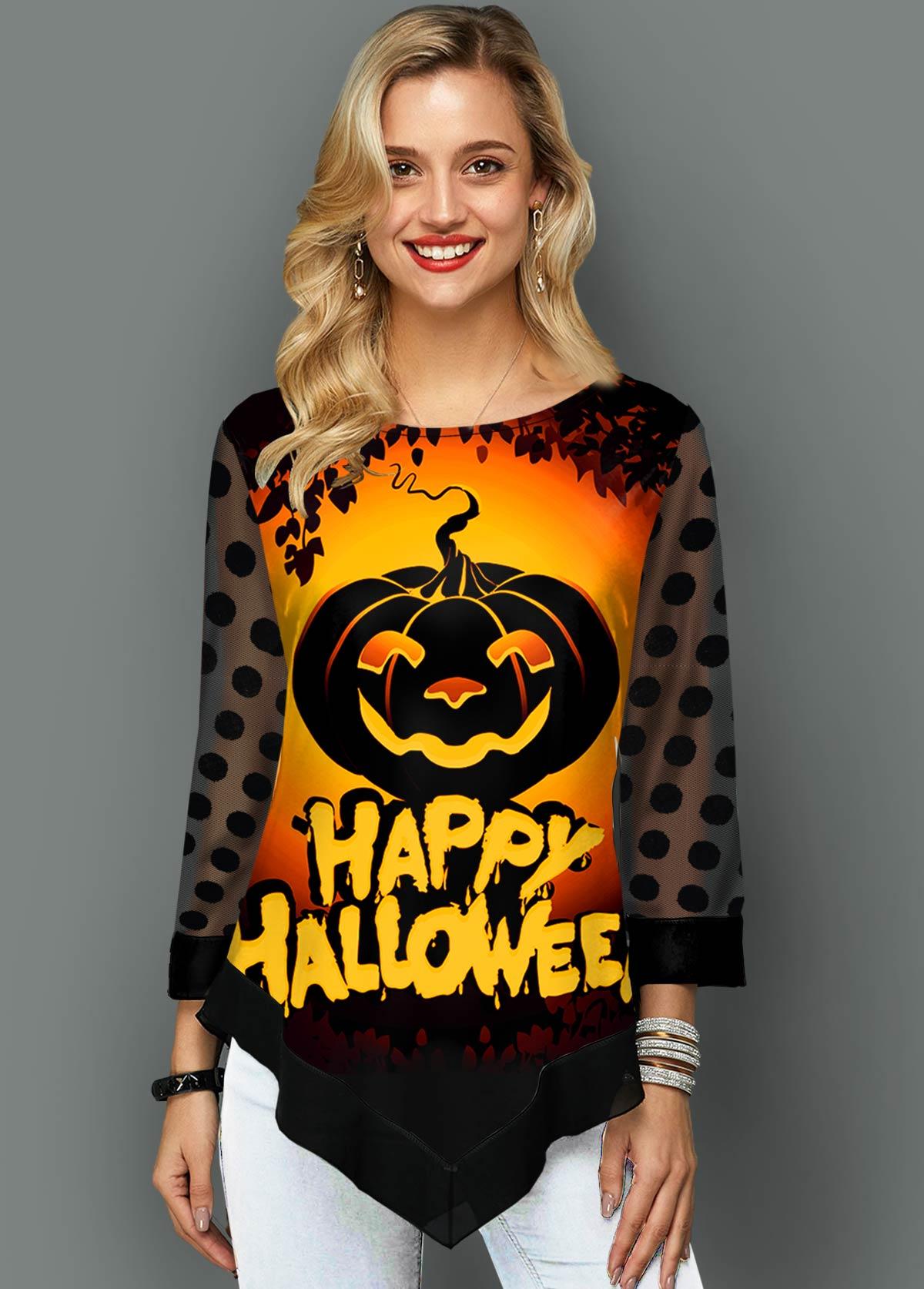 Halloween Print Asymmetric Hem Mesh Panel T Shirt