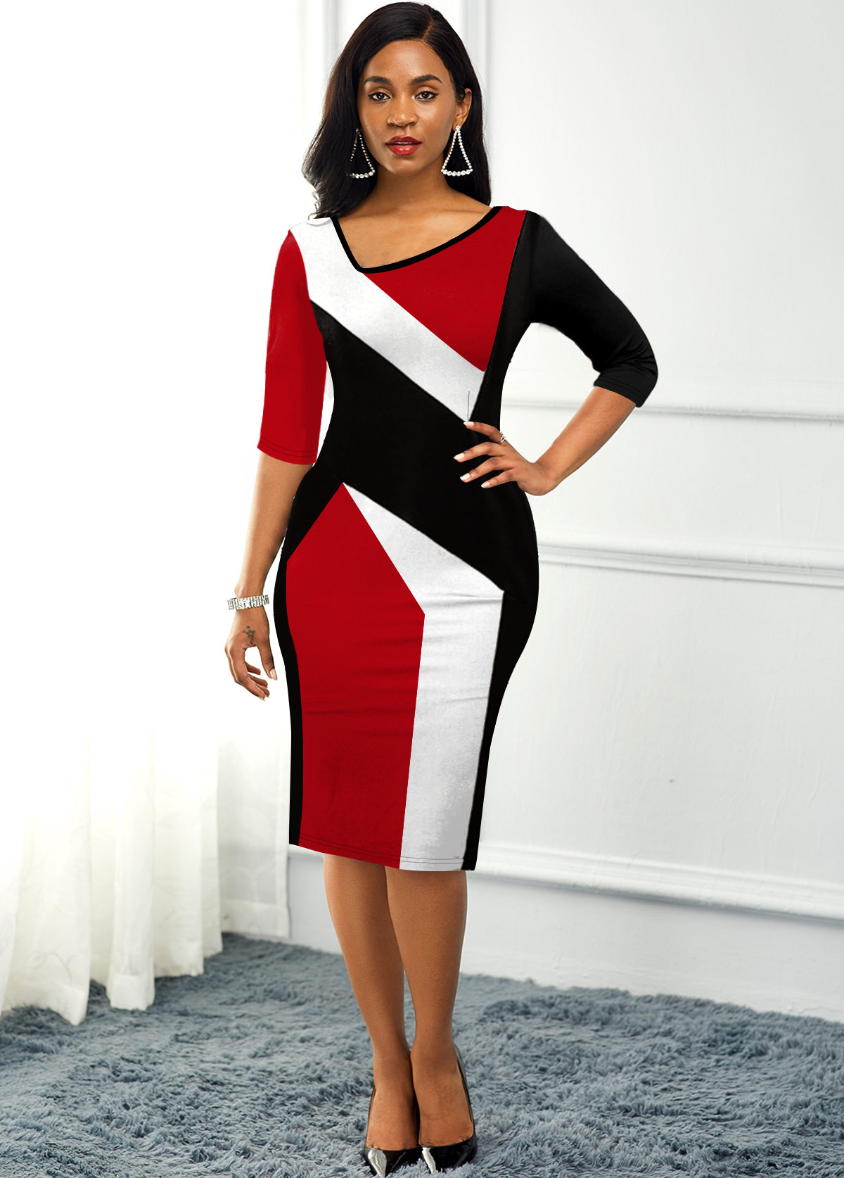 Asymmetric Neck Color Block Back Slit Dress